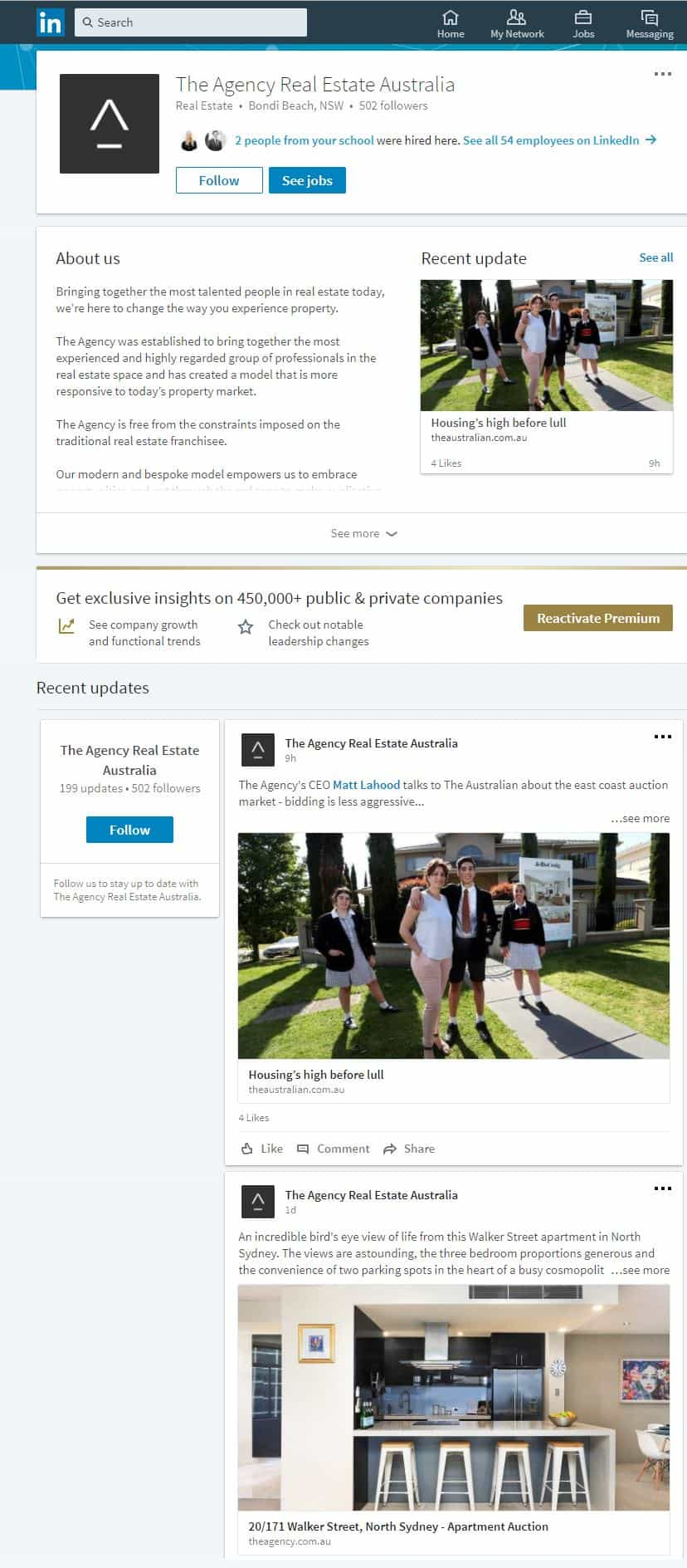 An example of a Real Estate company page designed to help generate real estate leads with LinkedIn.